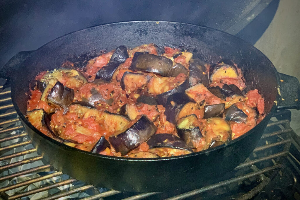 Spiced aubergine and tomatoes