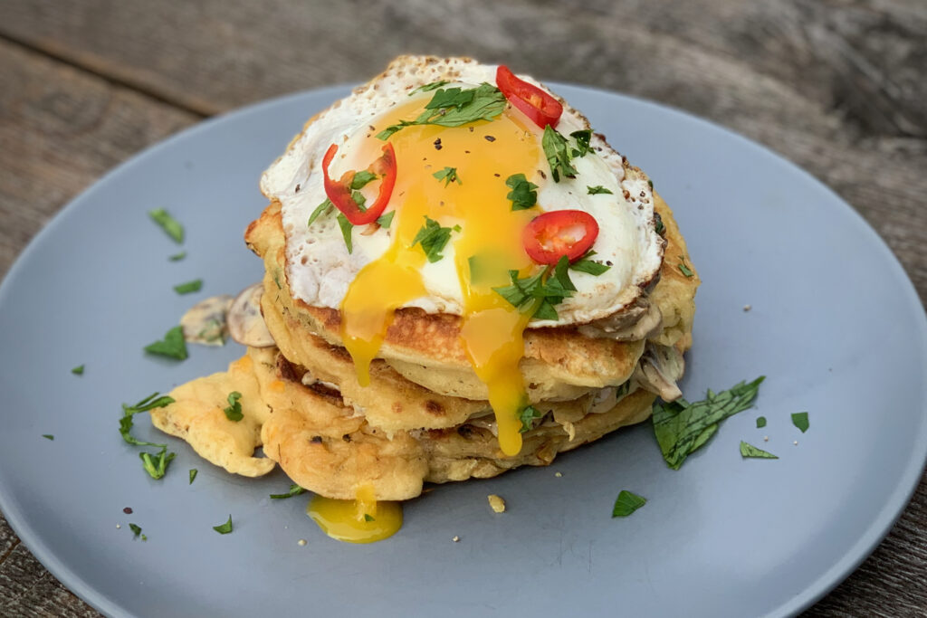 Tosted corn pancakes