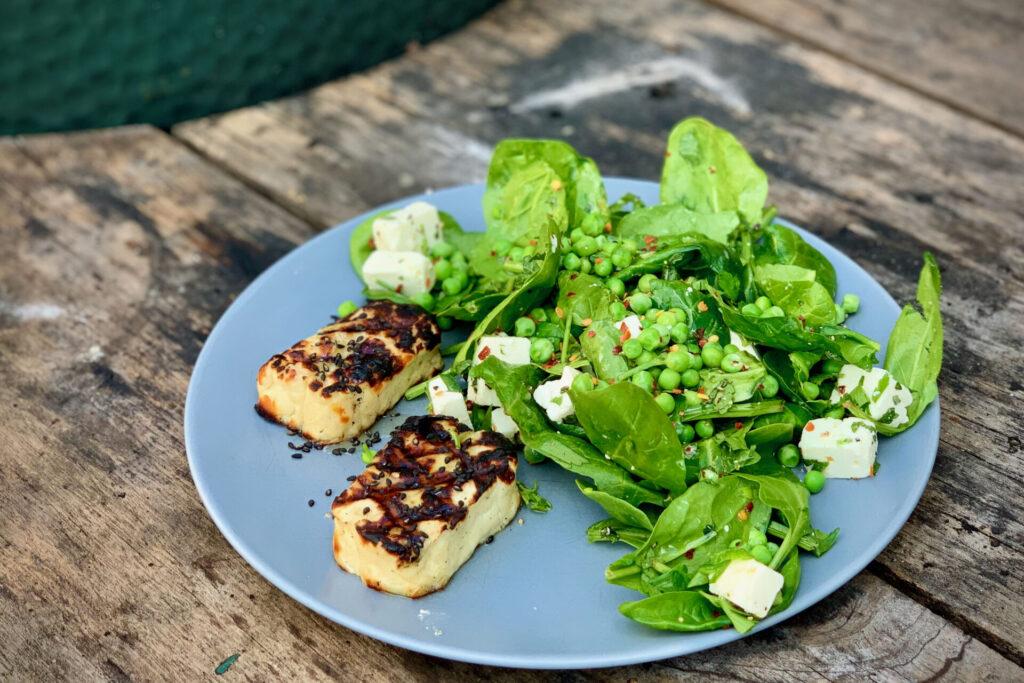Halloumi and pea salad