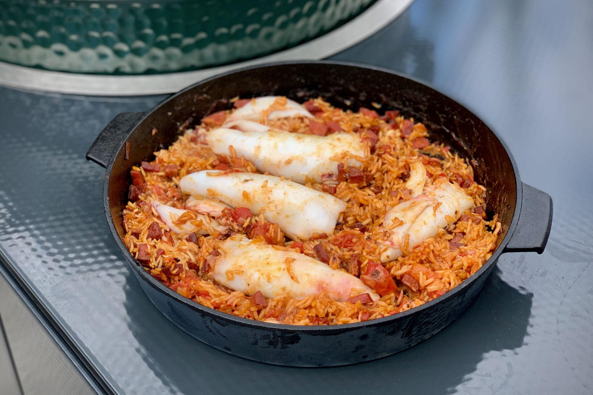 Spanish style stuffed squid