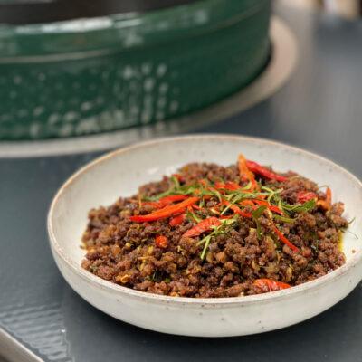 Dry Thai mutton curry
